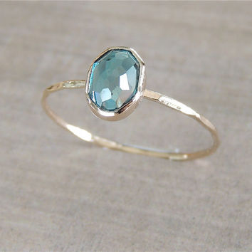 London Blue Topaz Gold Ring, 14k Gold Ring, Delicate Gold Ring, Oval Gemstone Ring, Stackable Ring, Engagement Ring, Something Blue