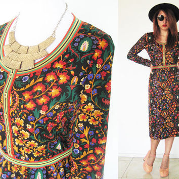 Vintage 60's Authentic Goldworm collectible floral flower light knit long sleeves mod hippie bohemian midi dress