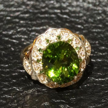 Vintage Peridot Ring 5 Carats with Green and White Diamond Accents 10K Gold Engagement