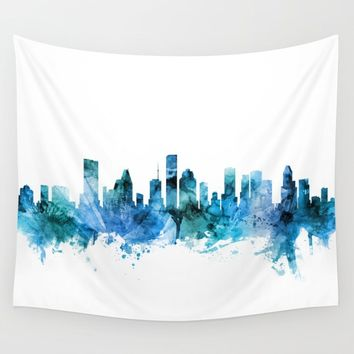 Houston Texas Skyline Wall Tapestry by artpause