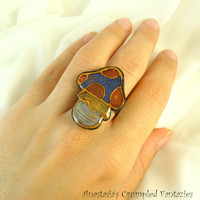 Blue copper yellow white gold polymer clay faux cloisonne mushroom ring, Poisonous toadstool modern jewelry, Colorful boho fungus