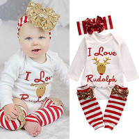 3pcs Set Newborn Baby Girl Long Sleeve Rompe Jumpsuit Christmas Outfits Set Children Stuff Clothes