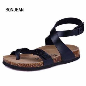 Men Sandals Cork Shoes Summer Beach Shoes Fashion Flats Non-slip Flip Flops Zapatos Sandalias Ankle Strap Sandals Plus Size