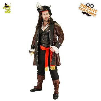 Adult Men's Luxury Pirate Costume Imitation Halloween Party Cosplay Pirate Clothes Fancy Dress Up Deluxe Pirate Costumes
