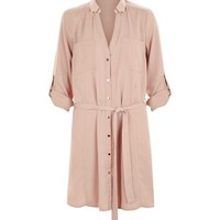 Cameo Rose Stone Belted Shirt Dress