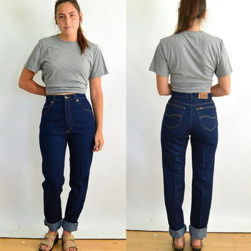 94657d2c Vintage Lee Jeans High Waisted Fitted Tapered Leg Women's Jeans Never Worn  New 80's Long