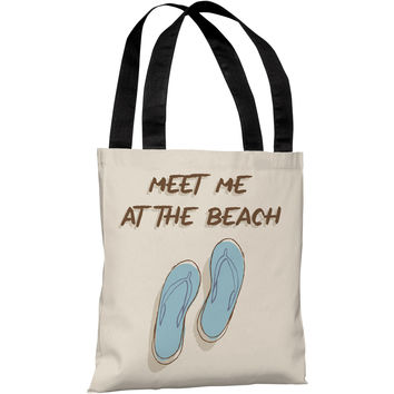"""Meet Me At The Beach"" 18""x18"" Tote Bag by OneBellaCasa"