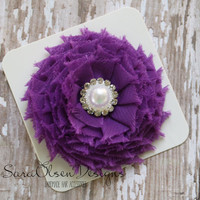 Rosette Hair Clip, Purple, Swirl Chiffon Flower, Flower Hairbow, Frayed Chiffon Hairclip, Children's Hair Accessories, Girls Hairbow