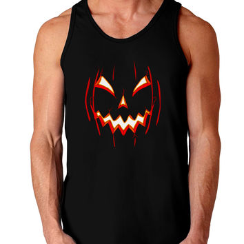 Scary Glow Evil Jack O Lantern Pumpkin Dark Loose Tank Top