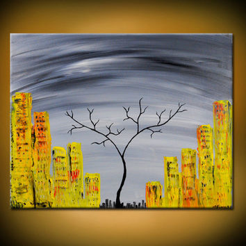 City In Nature- Original Acrylic Abstract Painting, Black Tree and Yellow in Grey Background, City(Painting No. N036)