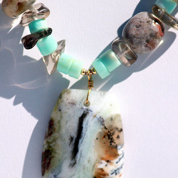 Jasper Pendant with Opal and Carved Jade Necklace