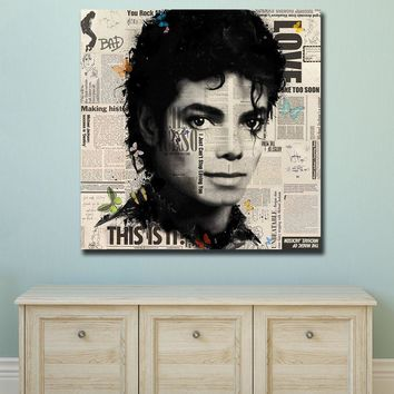 Wxkoil Wall Art Pictures For Living Room Home Decor Abstract Graffiti Art Michael Jackson  Canvas Oil Painting Printed  Unframed