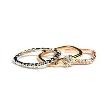 Women Fashion Tri Color Triple Eternity Bands Rings Rose Gold Silver Gold Tone