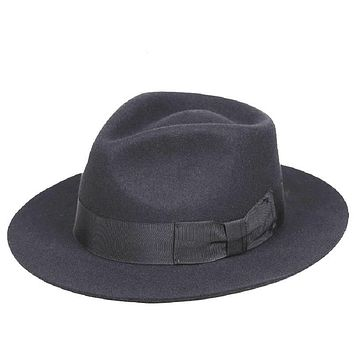 Classic Men'S Black Wool Fedora Gentleman Hat -6Cm Brim
