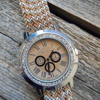 Fashion Watch with rhinestones by Vice Versa { Brown/Silver }