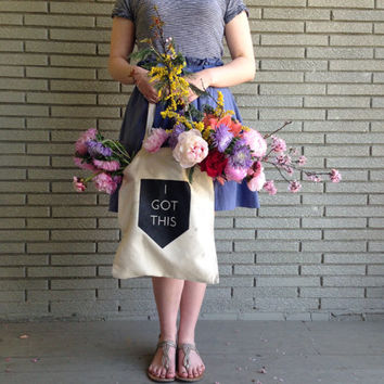 Modern Geometric Recycled Cotton Tote Bag: I Got This