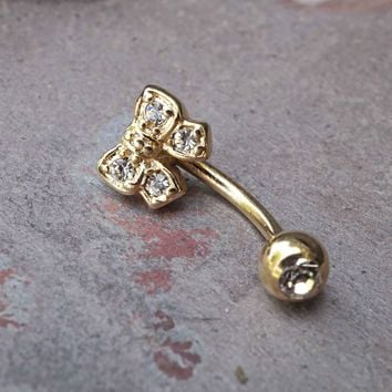 Cute Gold Daith Piercing Gold Rook Earring Crystal Bow