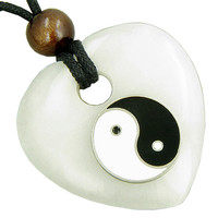 Heart Protection Talisman Lucky Ying Yang White Snowflake Quartz Pendant Necklace