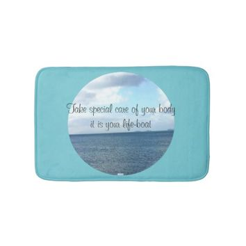 Life-Boat Quote by Kat Worth Bathroom Mat