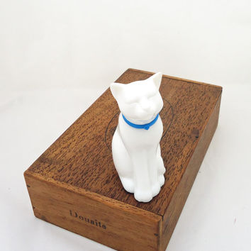 Vintage Avon White Glass Cat Shaped, Perfume Scent Bottle, 1980s, UK Seller