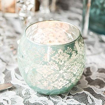 Small Glass Globe Votive Holder With Reflective Lace Pattern (6) - Lavender (Pack of 6)
