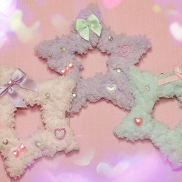 Cute Fluffy Star Clips with Two Way Clips for Sweet Lolita & Fairy Kei