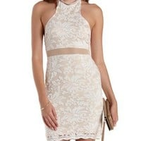 Ivory Combo Racer Front Bodycon Lace Dress by Charlotte Russe