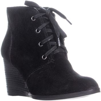 Lucky Brand Swayze Wedge Lace Up Ankle Boots, Black, 8 US