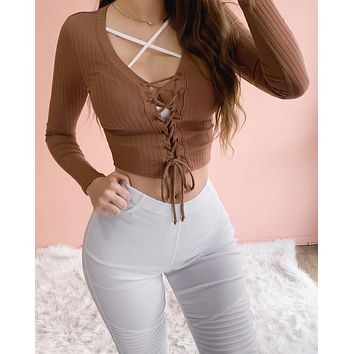 ADORE ME LACE UP TOP (MOCHA)