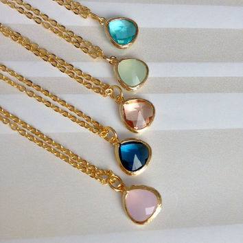 Gift For Her, Gold Necklace, Bridesmaid Necklace, Birthstone Necklace, Mom Grandma Aunt Gift , Blue Pink Mint Sapphire Necklace