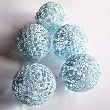Party Lighting, Holiday Lights, Lighting Chain Bedroom Decor, Fairy Lights, String Lights, 20 Lace Crocheted blue balls , garland light