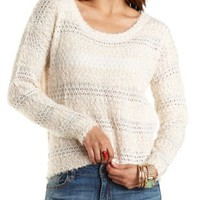 Fuzzy Striped Pullover Sweater by Charlotte Russe