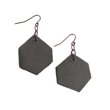 WAYWARD: BLACK HEXAGON EARRINGS