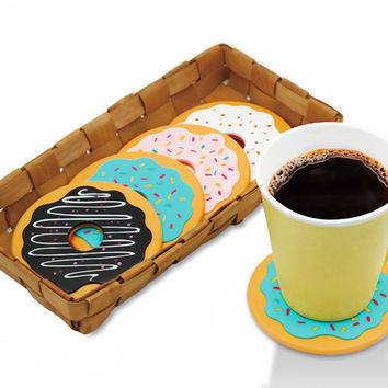 4Pcs/Lot Round Donut Coasters Drink Bottle Beer Beverage Cup Mats cup mat plastics coaster posavasos
