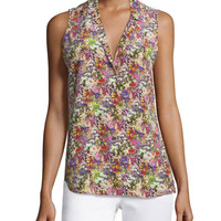Equipment Adalyn Sleeveless Floral-Print Top, Happy Pink/ Multi