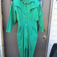 Vintage 70s/80s Joni Blair california green  tie dyed  cotton denim jumpsuit romper