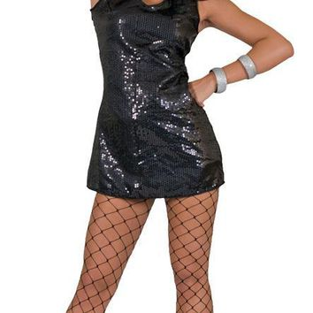Disco Dress Adult Black Large costume for Women