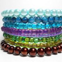 Memory Wire Bracelet Peacock Blue Purple Green Stacking Bracelet