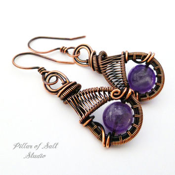 Amethyst copper woven wire earrings