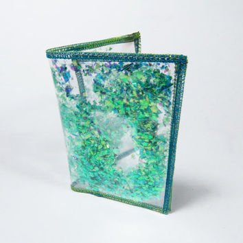 Turquoise Wallet, Iridescent Glitter Wallet, Business Card Holder Gift Card Holder in Mermaid