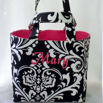 Tote Bag Fabric Handmade Tote Custom Embroidered with Monogram Damask Print