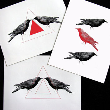 Triangle Shapes and Birds Set of 3 Mixed Media Illustration Art Print for Home Wall Decor