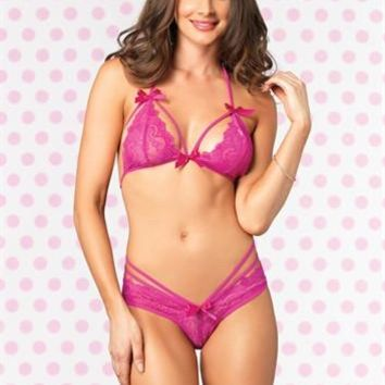 Strappy Lace Bra and Panty - Hot Pink - Medium - Large