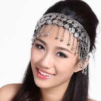 BellyLady Belly Dance Tribal Metal Headband With Silver Coins, Gypsy Egyptian Jewelry