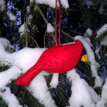 red cardinal christmas ornament felt ornament hanging ornament