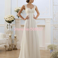 2016 Robe De Mariage Stock US Size 2-22 White/Ivory Appliques Chiffon Lace A-Line Wedding Dress Bridal Gowns Vestido De Noiva