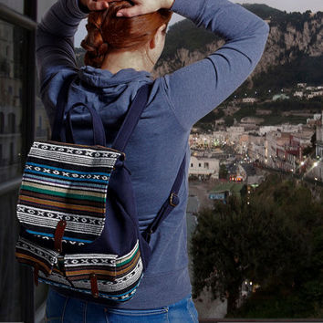 Denim blue backpack with Nepal Style Colorful Jacquard. Nepal style backpack. Denim backpack. Nepali Hippie style backpack
