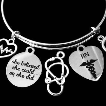 RN Jewelry EKG Nurse She Believed She Could So She Did Adjustable Bracelet Expandable Silver Charm Bangle Stethoscope One Size Fits All Gift