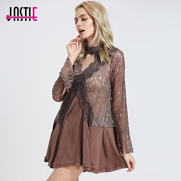 Jastie Floral Lace Dress Hollow Keyhole Cutouts Back Sheer Mini Dresses Bell Sleeve Irregular Hem Boho People Women Dresses 8208