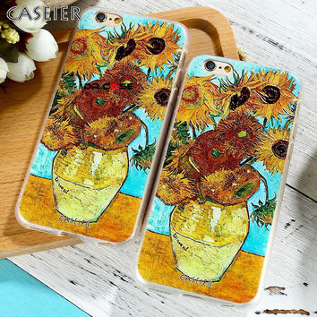 CASEIER 3D Sunflower Silicone Case for iPhone 6 6S Plus TPU Vincent Art Fashion Cover for iPhone 6 6s 5 5S SE Accessories Phone